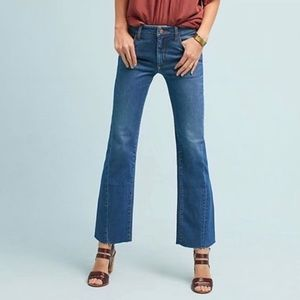Anthro Pilcro High Rise Cropped Flare Raw Hem Jean